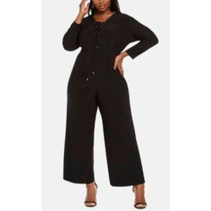 Love Squared Long Sleeve Gromet Lace-Up Jumpsuit